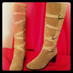 Andrew Steven's wrapped leather boots